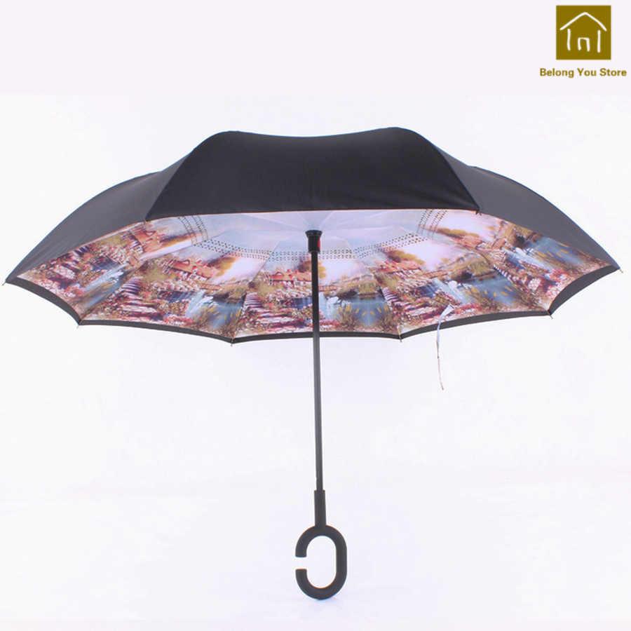 Зонт для взрослых с двойным слоем креативные зонты женские дождя УФ пончо Zont