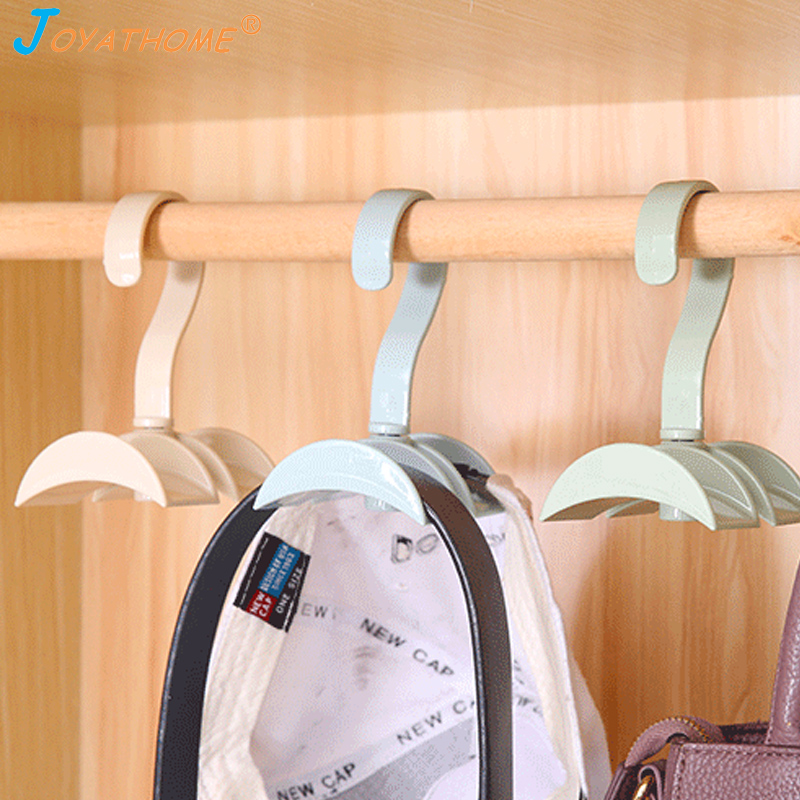 Image 2 - Joyathome Rotated Storage Rack Bag Hanger No Punch Clothes Plastic Rack Creative Tie Coat Closet Hanger Wardrobe Organizer-in Storage Holders & Racks from Home & Garden
