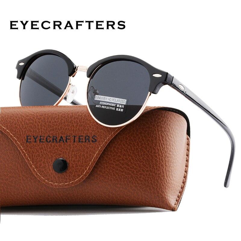 Novos Óculos Polarizados Rodada Clube Designer de Óculos Redondos óculos de Sol Das Mulheres Dos Homens Marca óculos de Sol Clássicos de Condução Semi Óculos Sem Aro