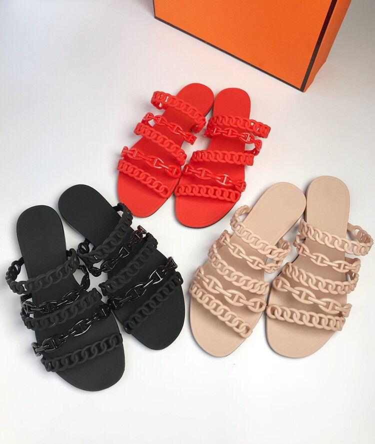 Marca Diapositivas Pvc Zapatos Show Show As Zapatillas Suave Cadena Verano as De Sandalias Fuera Casual Plana Playa Deslizamiento 2019 Cinco Moda Europeo z61Pw7xqU