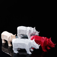 Geometric Marble Lines Rhino Resin Ornaments Home /Office Desktop Decoration Animal Lucky Best Gift 4 Colors Available