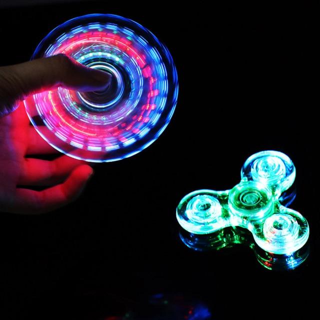 Новый Свет Непоседа счетчик светодио дный стресс руку блесны светятся в темноте Figet Spiner EDC анти-стресс палец Spinner