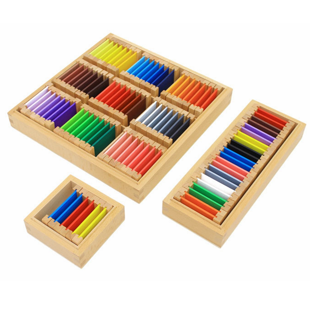 3 Size Montessori Sensorial Material Learning Color Tablet Box 1/2/3 Wood Preschool Training Kids Sensory Teaching Aids Toy Gift