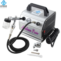 OPHIR 0.3mm Dual Action Airbrush Compressor Kit Gravity Spray Paint Gun for Hobby Tattoo Cake Decorating Airbrush_AC088+AC005