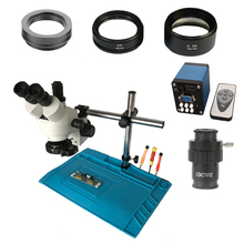 3.5X-90X Simul Focal Trinocular stereo microscope +13MP HDMI VGA Micrscopio camera+144 lights +2.0x 0.5x Objective lens+ctv1/2 2 pcs stereo microscope 0 3x auxiliary objective lens barlow lens with 1 7 8 48mm mounting thread