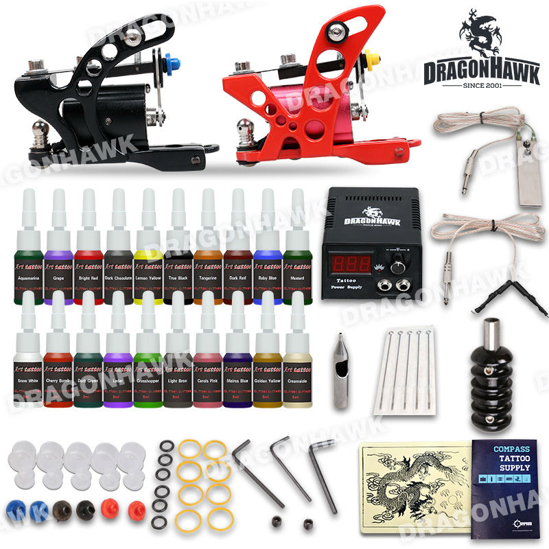 Beginner Tattoo Starter Kits 2 Rotary Guns Machines 20 Ink Sets Power Supply Needle Pedal Tips D175GD-7 professional tattoo kits liner and shader machines immortal ink needles sets power supply