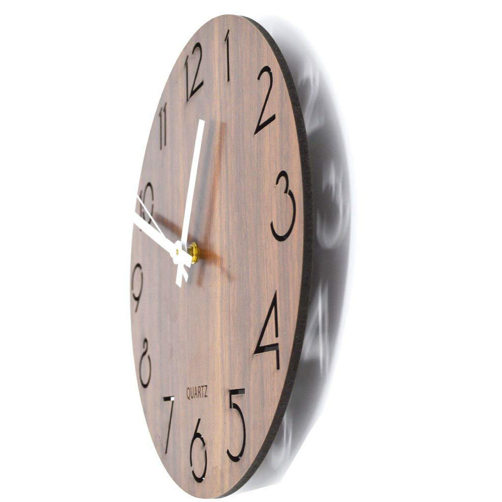 12 inch Creative Wall Clock Vintage Arabic Numeral Design Rustic Country Tuscan Style Wooden Decorative Round Wall Clock 11
