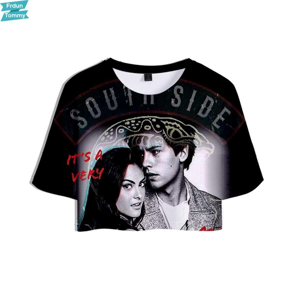 Riverdale 3D トップ Tシャツ夏綿 100% クールヒップホップへそ半袖 Tシャツファッション新半袖