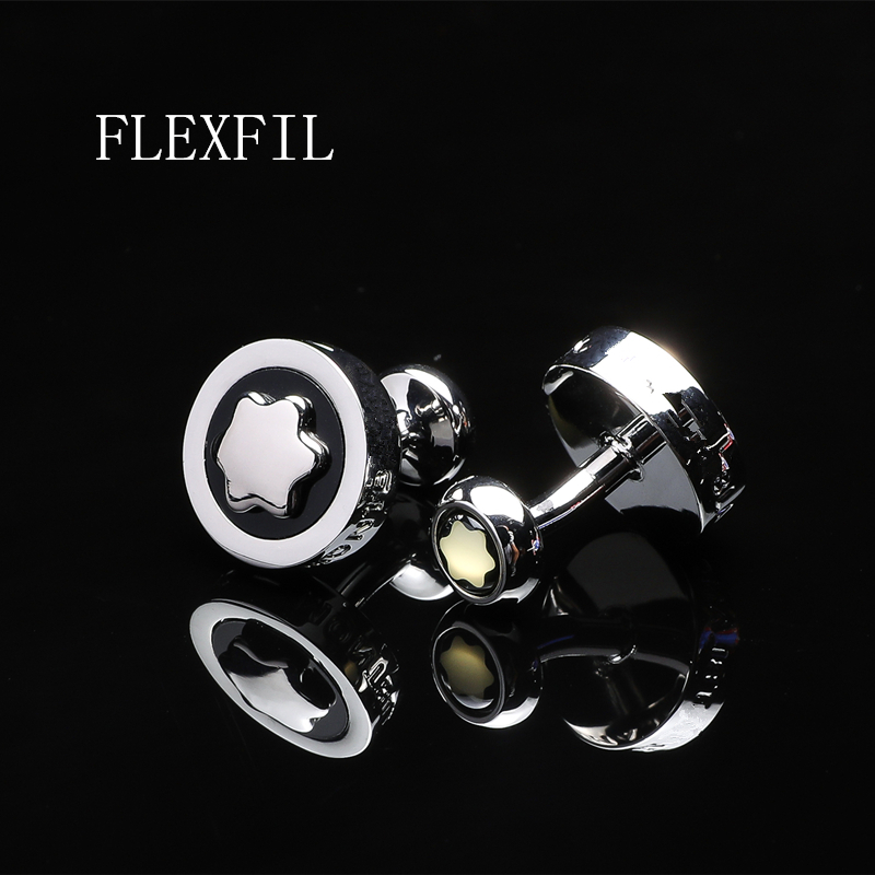 FLEXFIL Luxury Shirt Cufflinks For Men's Brand Cuff Buttons Cuff Links Gemelos High Quality Round Wedding Abotoaduras Jewelry