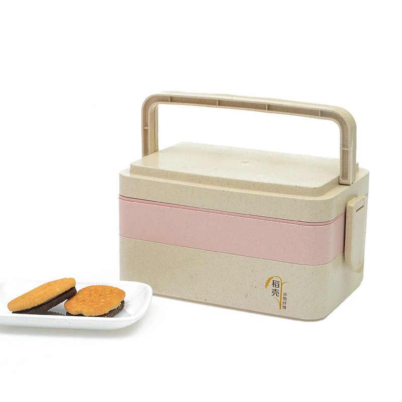 Tres capas de la caja de almuerzo a prueba de fugas portátil de juegos de vajilla de niños estudiante contenedor de alimentos sello caja de almacenamiento