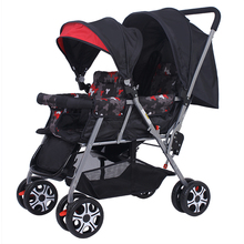 Multifunction Twins Baby Strollers Pre and Post Sitch Baby Stroller Lightweight Folding Double 2-seater Stroller can lie down