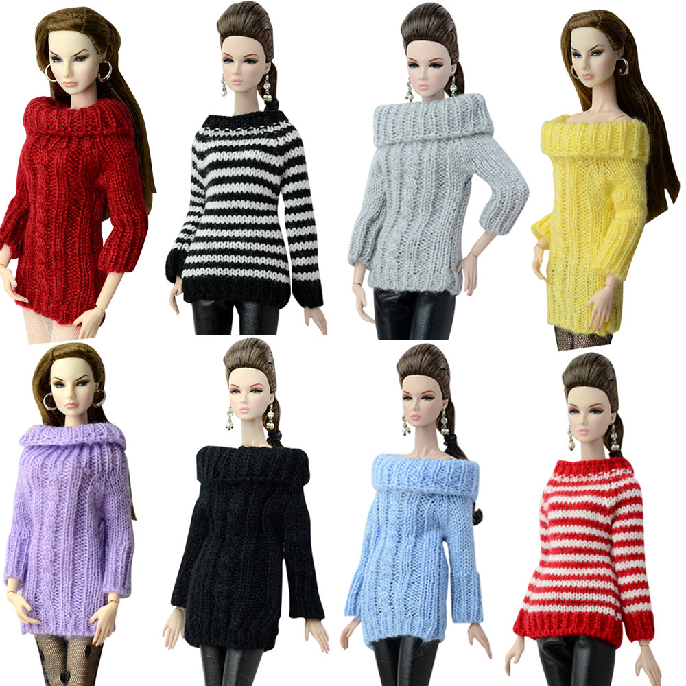 NK Fashion Doll Coat Pure Manual Clothes Knitted Handmade Sweater Tops Dress For Barbie Doll  Accessories Gifts Doll  Toys JJ