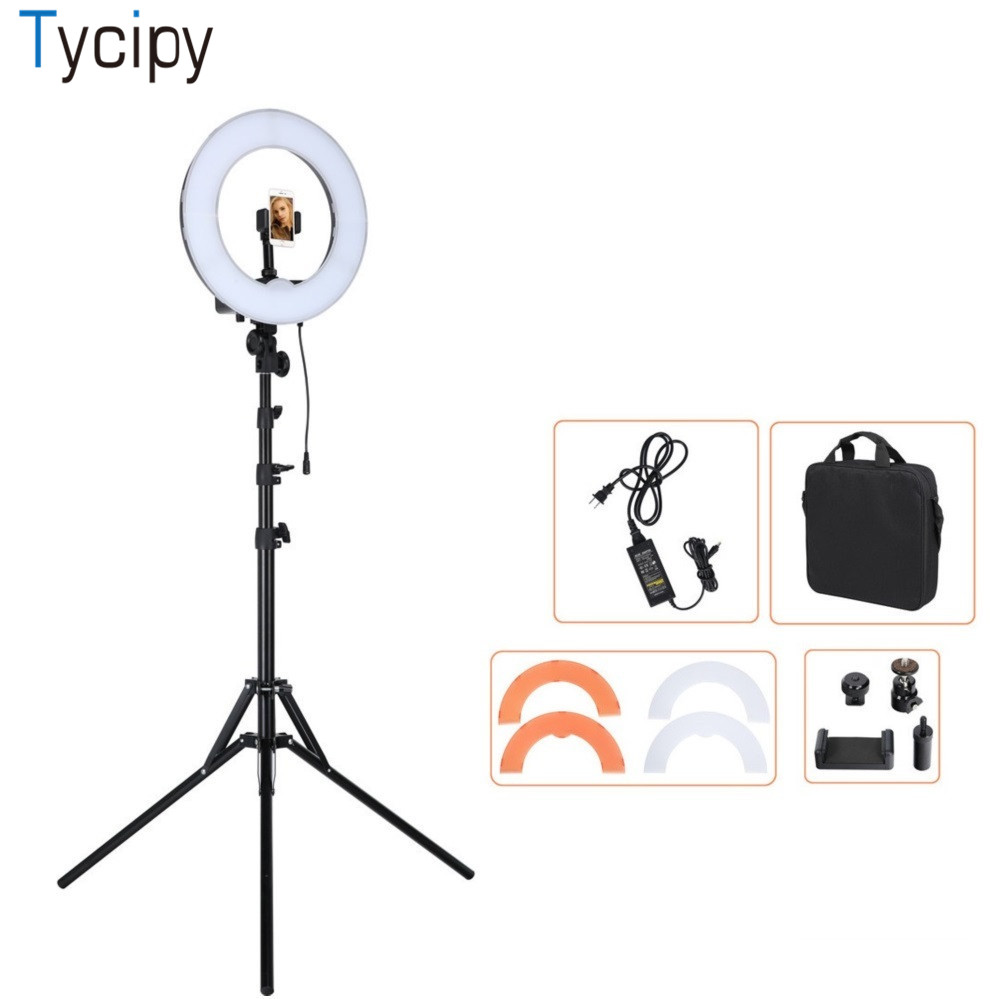Tycipy 12 LED Ring 55W 5500K Dimmable Camera Light For Camera Photo/Studio/Phone/Video Light Lamp with Plastic Tripod Stand fotopal led ring light for camera photo studio phone video 1255w 5500k photography dimmable ring lamp with plastic tripod stand