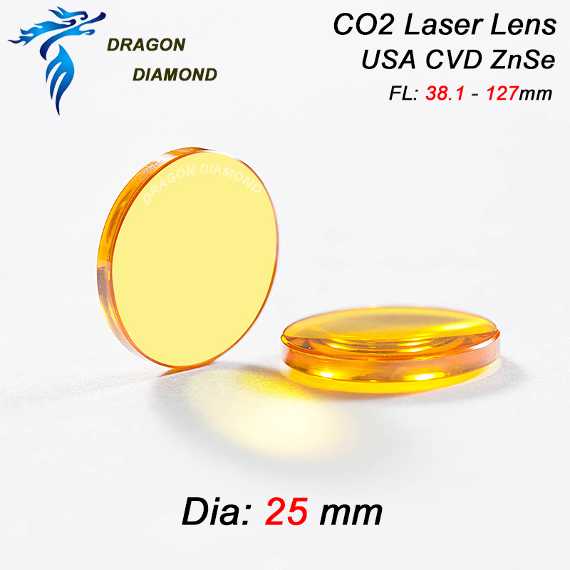 USA-st imporditi cnc-graveeringu jaoks ZnSe materjalist co2-laserlääts, diafragma pikkus 25 mm, 127 mm