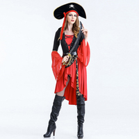 New Style 2017 Adult Women Deluxe Fashion Party Pirates Cosplay Pirate Costume for Halloween Female Carnival W880312