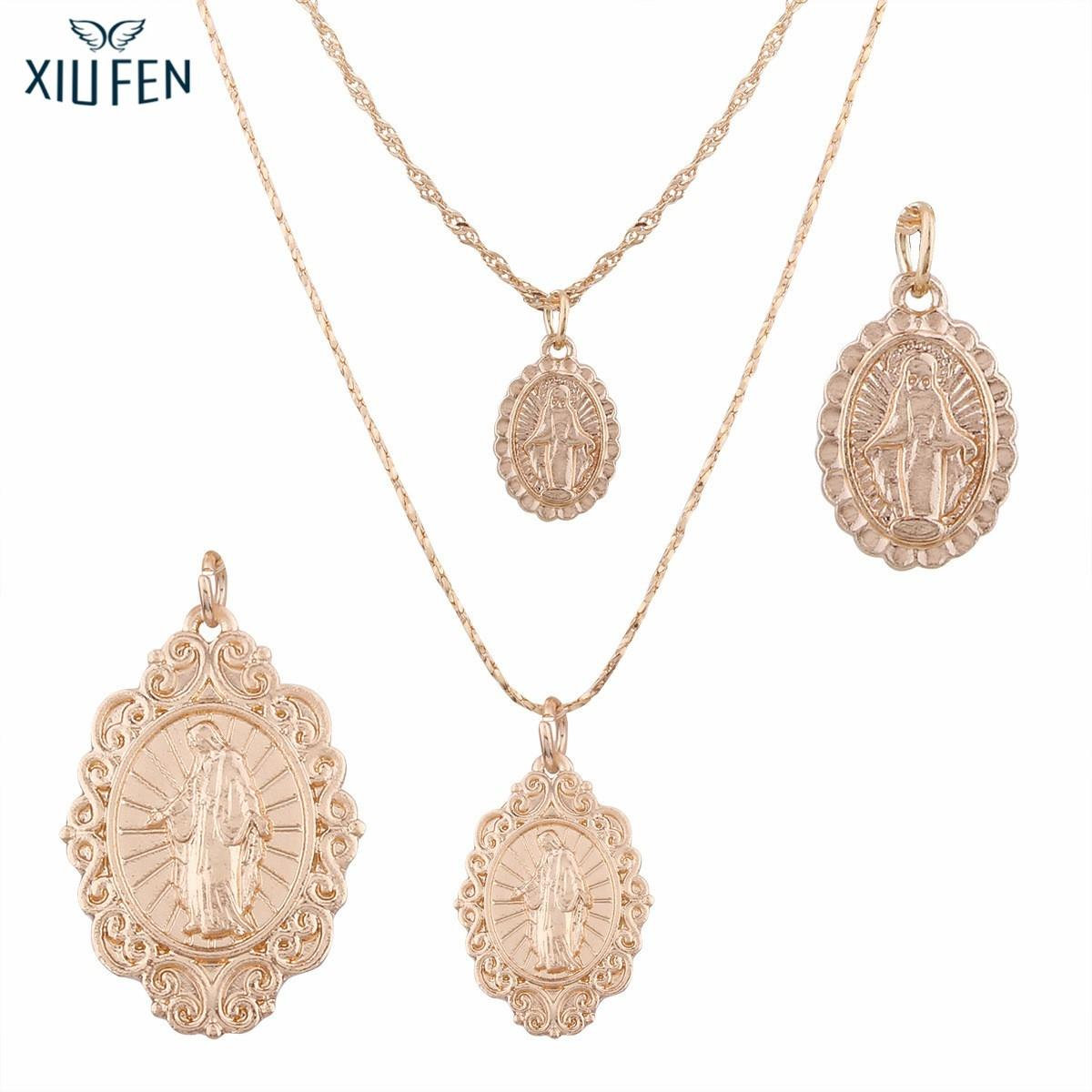 XIUFEN Special Necklace 2PCS Stylish Virgin Mary Necklace Pendent Ornament Festival Birthday Gift