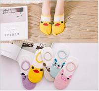 Wholesale 5Pair/Lot Popular 2017 New Cute Women Lady Girl's Cotton Cartoon Character Low Cut No Show Invisible Socks