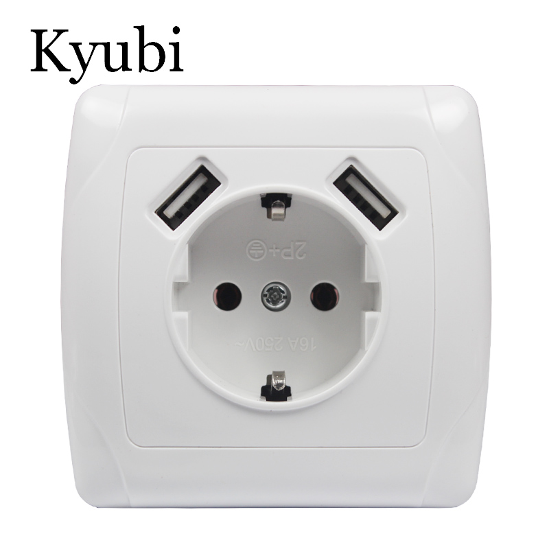 2019 new design USB Wall Socket Free shipping Double USB Port 5V 2A Usb pared prise electrique prise usb murale steckdose A001
