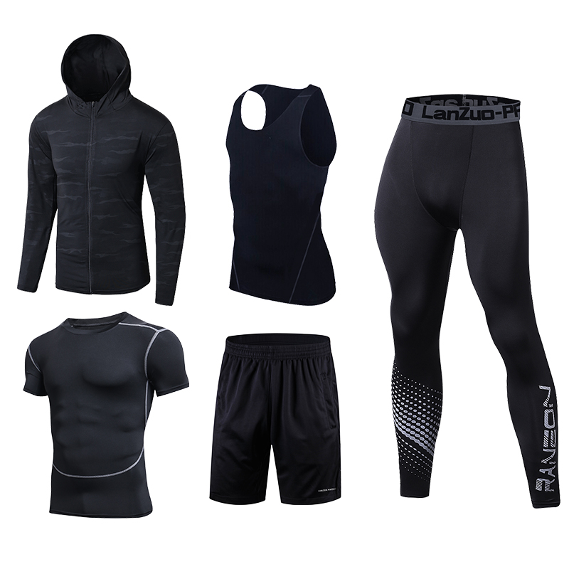 Image 5 - Quick Dry Running Set Men Soccer Basketball Tights Clothes Compression 5 pcs/set Sports Suit Gym Jogging Training Set Sportswear-in Running Sets from Sports & Entertainment on AliExpress
