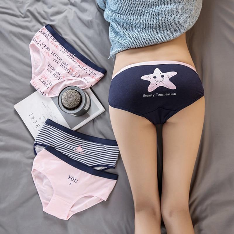 Cute Print Women's Panties Cotton Briefs Young Girls Low Waist Stripe Underwear Women Cotton Lingerie Briefs Ladies ST0076
