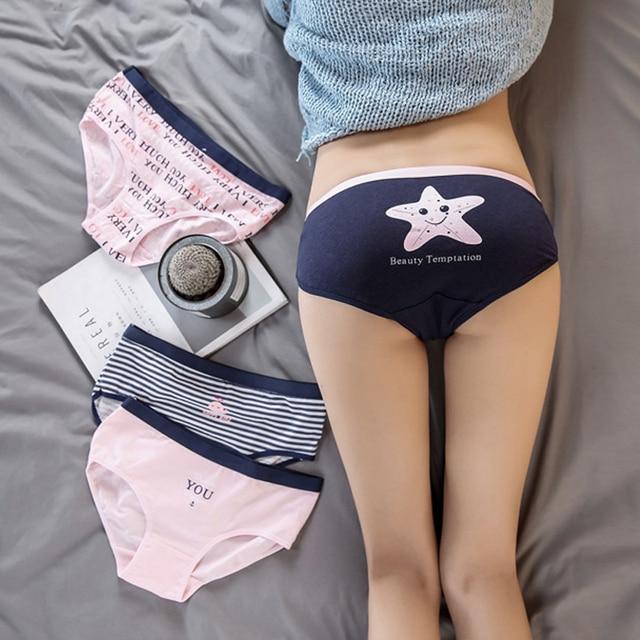 f1947762fd85 Cute Print Women's Panties Cotton Briefs Young Girls Low Waist Stripe  Underwear Women Cotton Lingerie Briefs