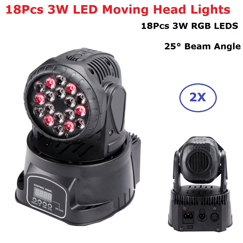 2Pcs/Lot Fast Shipping 18X3W RGB LEDS Mini LED Moving Head Light Moving Head Wash Lights For Disco Party Dj Events Lighting fast shipping professional stage lighting led mini 18x3w wash moving head light for event disco party nightclub