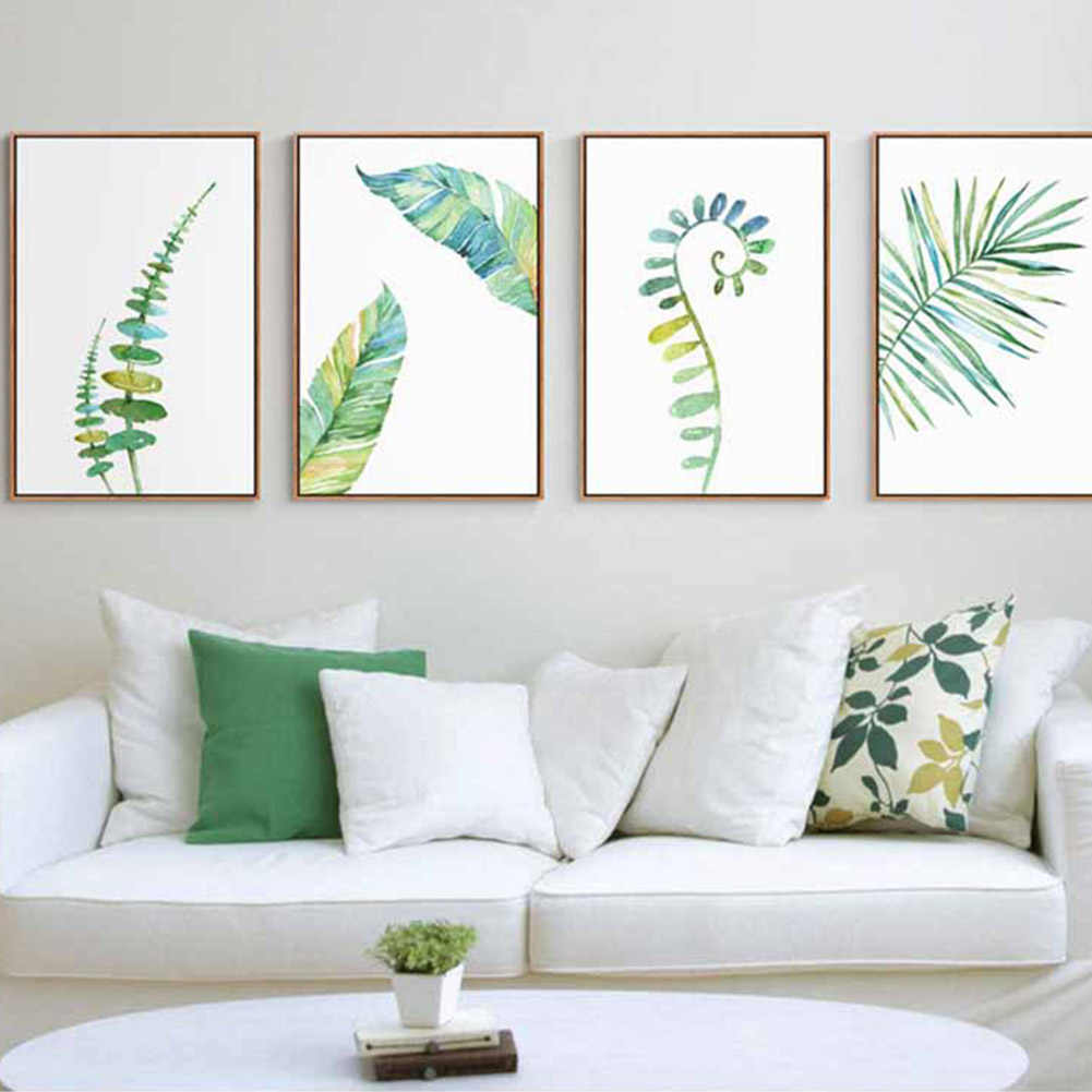 13x18cm Tropical Plant Leaves Minimalist Art Canvas Poster Painting Nature fresh Wall Picture Modern Home Office Decorations