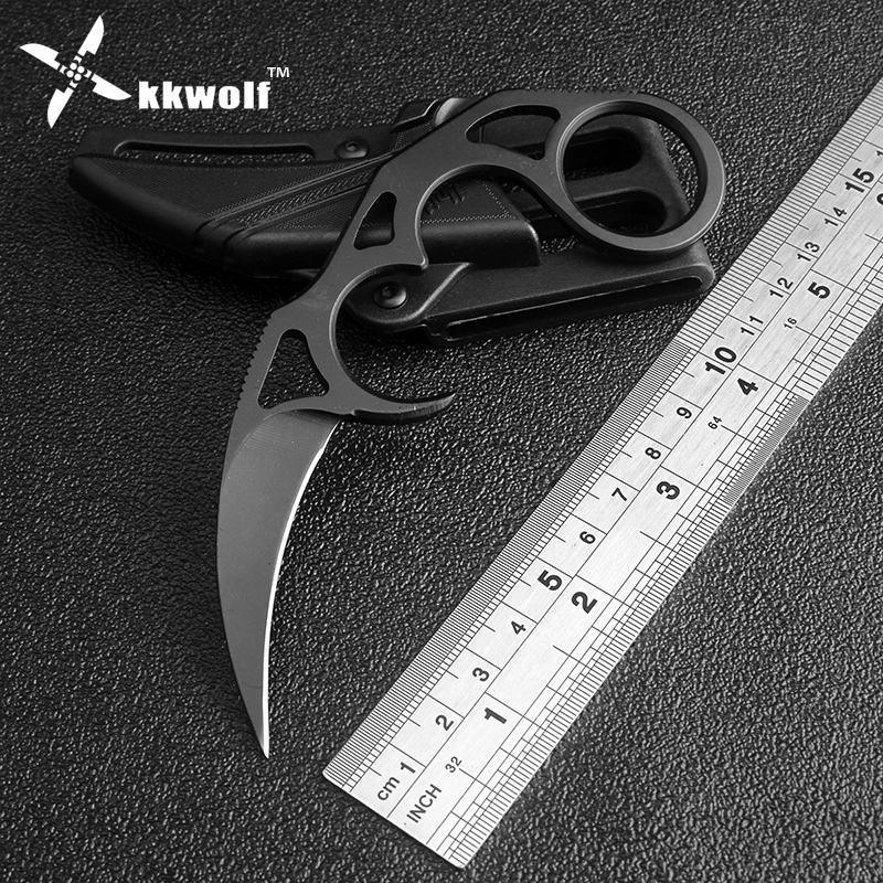KKWOLF tactical pocket knife black 7CR17 stainless karambit fixed blade knife steel survival hunting multi undercover rescue image