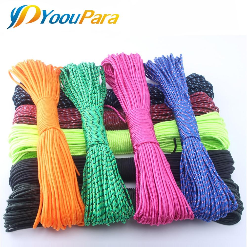 33 Colors Paracord 3mm 100FT 50FT Rope 1 Strand Paracorde Cord Outdoor Survival Equipment Clothesline DIY Bracelet Wholesale