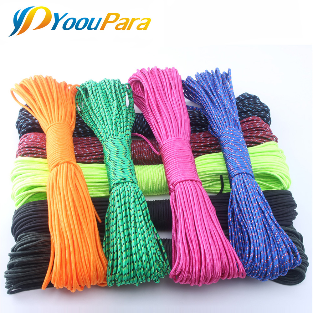 33 Colors Paracord 3mm 100FT 50FT Rope 1 Strand Paracorde Cord Outdoor Survival Equipment Clothesline DIY Bracelet Wholesale