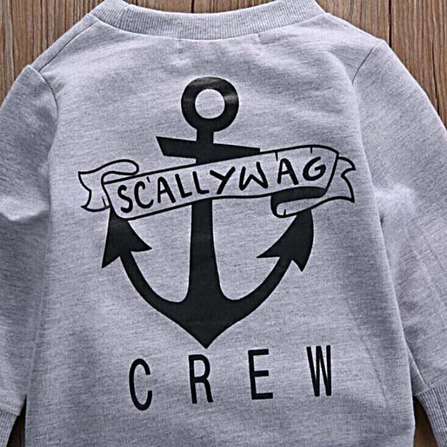 2019 Fashion Newborn Kids Baby Boy clothes Long Sleeved Cotton Grey Sweater+Khaki Trousers 2PCS Trending Clothing Sets Baby Boys