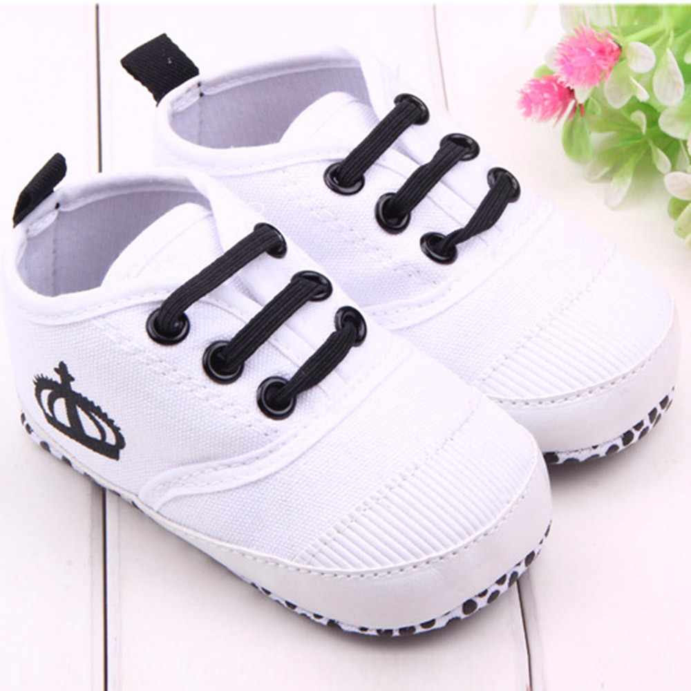Newborn Infant Baby Shoes Baby Kids Boys Solid Sneaker Canvas Cotton Crown Infant Soft Sole Baby Spring Toddler Shoes
