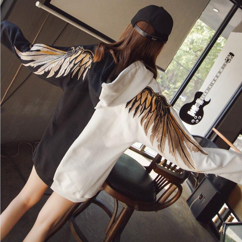 Nouveau Ulzzang Harajuku Style coréen surdimensionné ailes broderie sweat à capuche petit ami Style étudiant Couple sweat