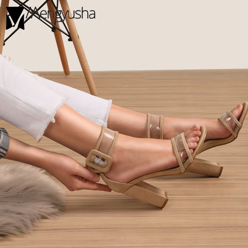 625dacdf3fe ... ankle high sandals woman sandals buckle heels women women pvc boots  transparent gladiator strap chunky sandals ...