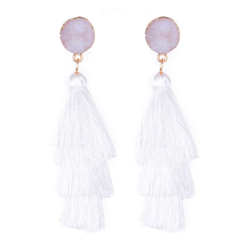 Multicolor Three-Layer Tassel Earrings Vintage Bohemian Pendant Layered Mothers Day Gift Jewelry