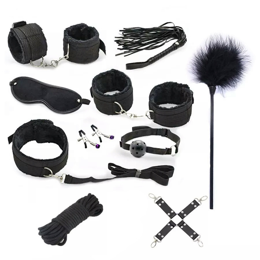 7Pc/Set  Erotic Toys For Adults Sex Handcuffs + Nipple Clamps + Whip + Mouth gag+ Sex mask + Bdsm Bondage Set intimate sex goods