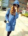 Корейский закрытый воротник без тары длинная деним плащ пальто женщины осень негабаритных толстовки деним одежда