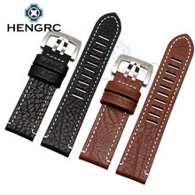 лучшая цена HENGRC 23mm Watch Band Strap New Women Men Black Brown Genuine Leather Watchbands Stainless Steel Buckle For Luminox