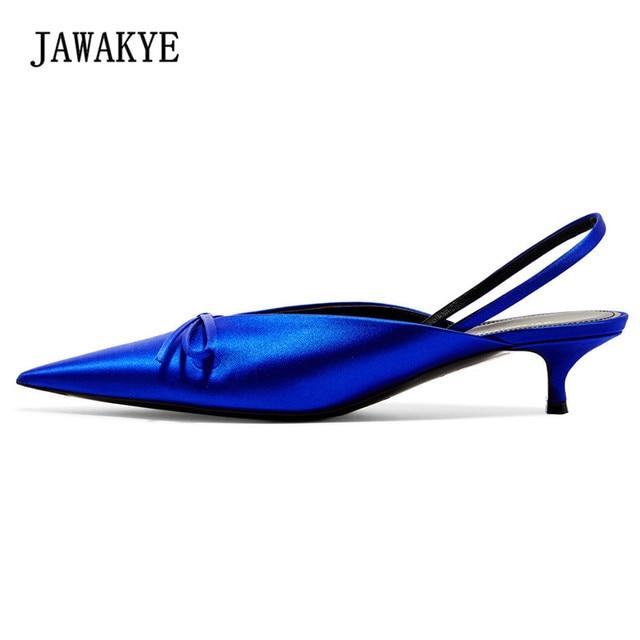 b7f50ef749 JAWAKYE Candy Color Green Silk Leather Slides Sandals Women Pointed toe Kitten  heels Bowknot Low Heel Ladies Summer Slingbacks