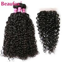 Beaufox גל מים מלזי חבילות עם סגירת שיער אדם Weave 3 חבילות עם תחרת סגר טבעי שחור רמי שאינו