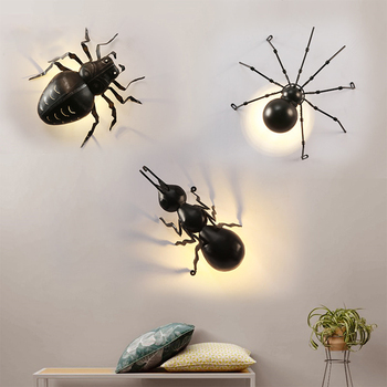 Industrial Wind Beetle Spider Ant Wall Lamp Child Room Animal Halloween Balcony Artistic Creative Luminaria Deco Lamp