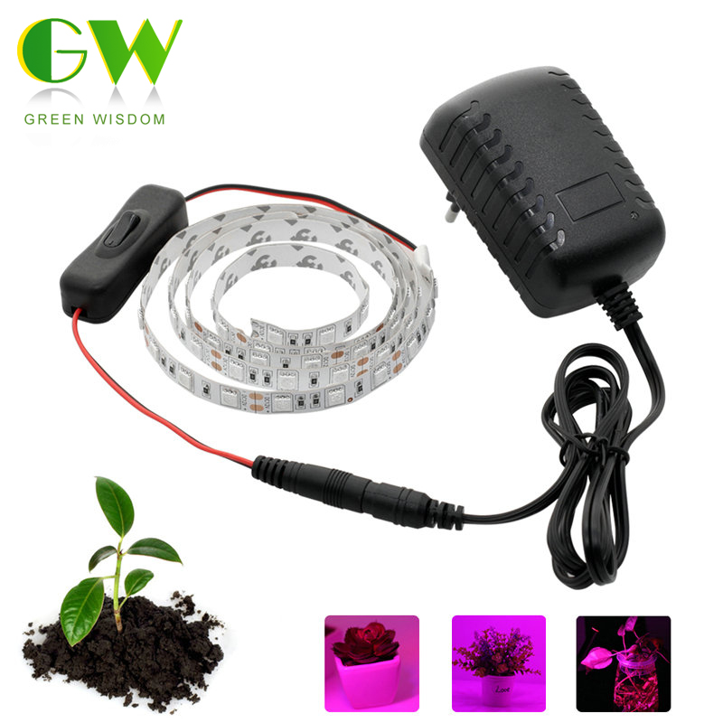 led grow lights dc12v growing led strip plant growth light set with adapter and switch us937. Black Bedroom Furniture Sets. Home Design Ideas