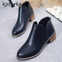 Kjstyrka botines mujer 2018 outono moda mulheres simples couro de patente ankle boots Antiderrapante Amortecimento salto baixo bota feminina