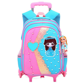New Removable Children School Bags with 2/6 Wheels for Girls Trolley Backpack Kids Wheeled Bag Bookbag travel luggage bags