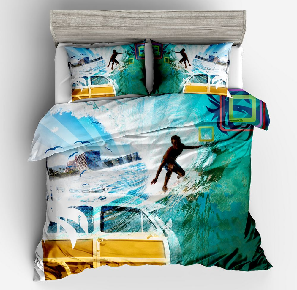 3D Blue Green Man Surfing Sanding Polyester Duvet Cover Set 3Pcs Set pillow case Twin Full Queen King Bedding Sets Home ornament