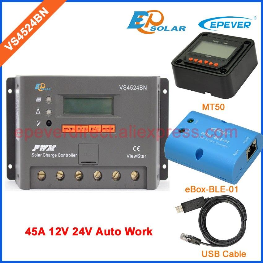 24 напряжения VS4524BN MT50 дистанционного метр солнечной зарядки контроллера портативный регулятор функция Bluetooth и кабель USB 45A