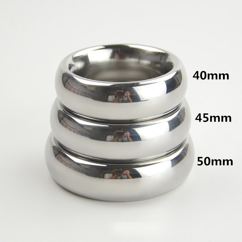 stainless steel Polished smooth <font><b>cock</b></font> <font><b>ring</b></font> <font><b>sex</b></font> <font><b>toys</b></font> for men Heavy round penis <font><b>ring</b></font> Inner D: 45mm/50mm cockring glans <font><b>rings</b></font> image