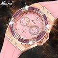 Missfox, женские часы, роскошная Мода 2019, бриллиантовый Хронограф из розового золота, розовые резиновые стильные женские часы, кварцевые наручн...