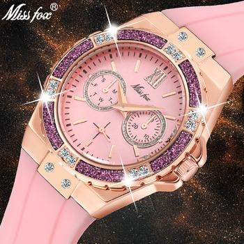 Missfox Women Watches Luxury Fashion 2019 Diamond  Rose Gold Chronograph Pink Rubber Band Ladies Quartz Wristwatches New