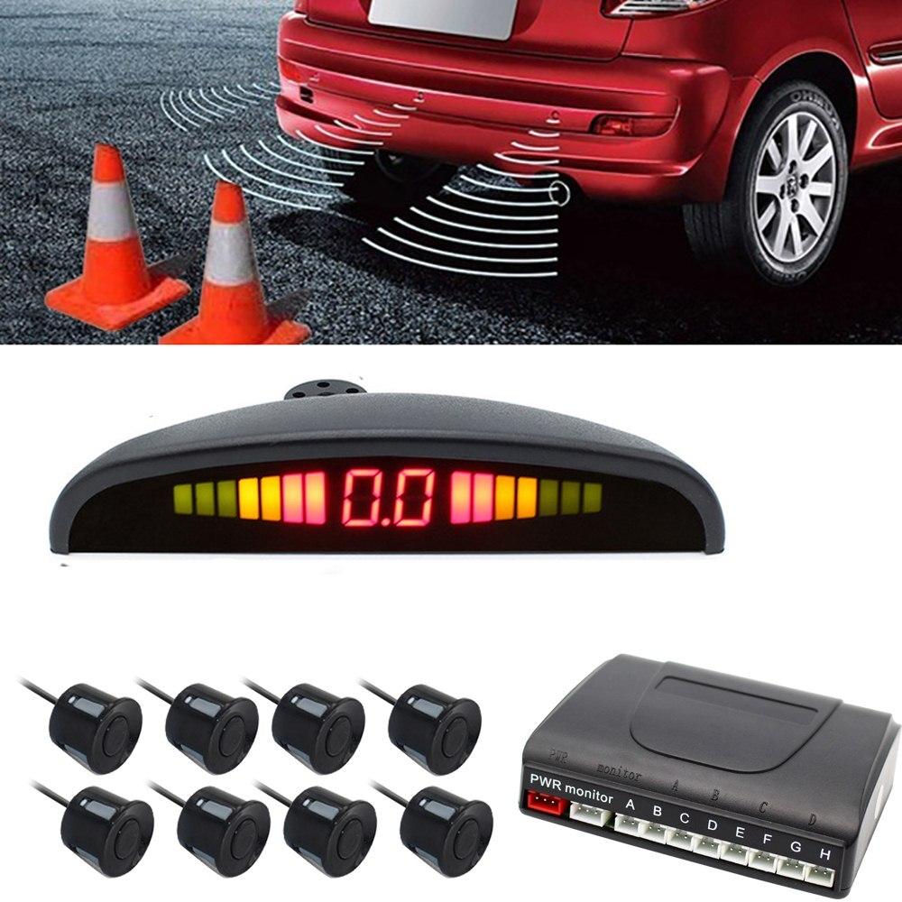 Car Parking Sensors 8 Probe Reversing Radar Parking Monitor Detector System LED Display Parking Sensor Auto Reversing Radar in Parking Sensors from Automobiles Motorcycles